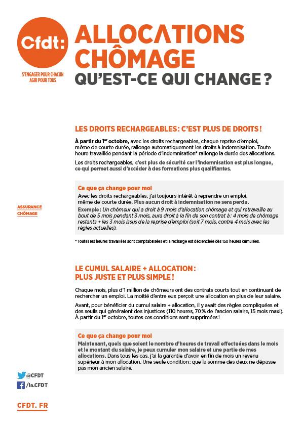 Cfdt Tract Allocations Chomage Qu Est Ce Qui Change