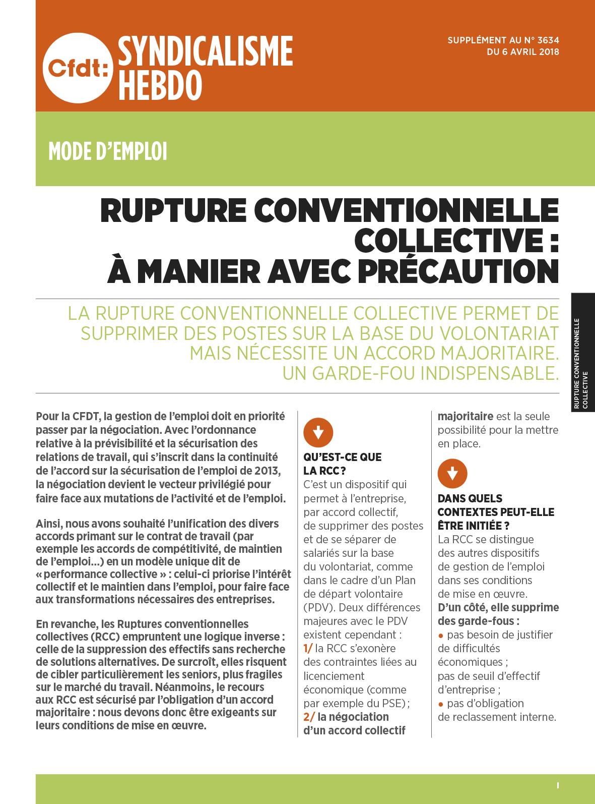 Cfdt Rupture Conventionnelle Collective A Manier Avec Precaution