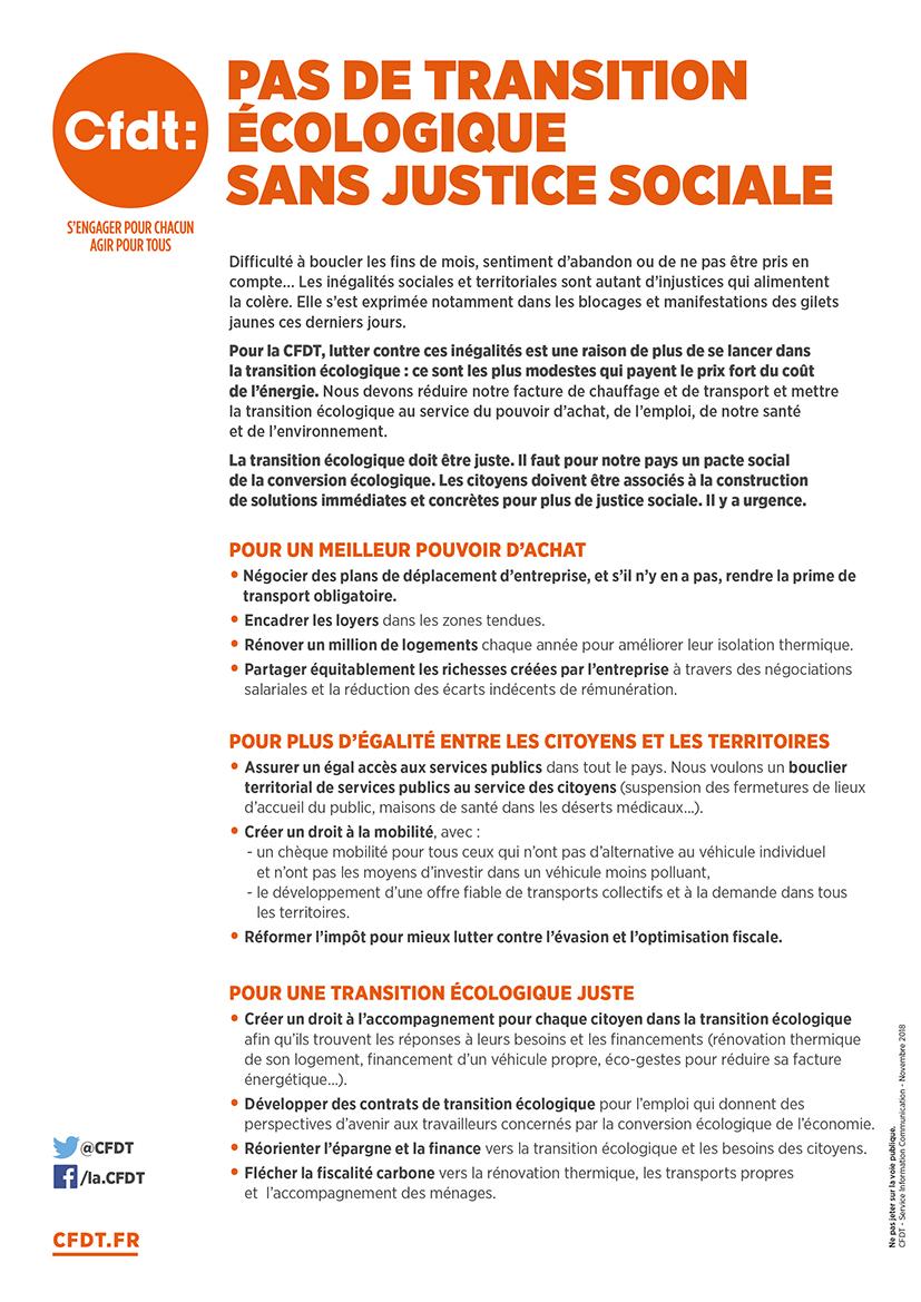 Tract - Pas de transition écologique sans justice sociale