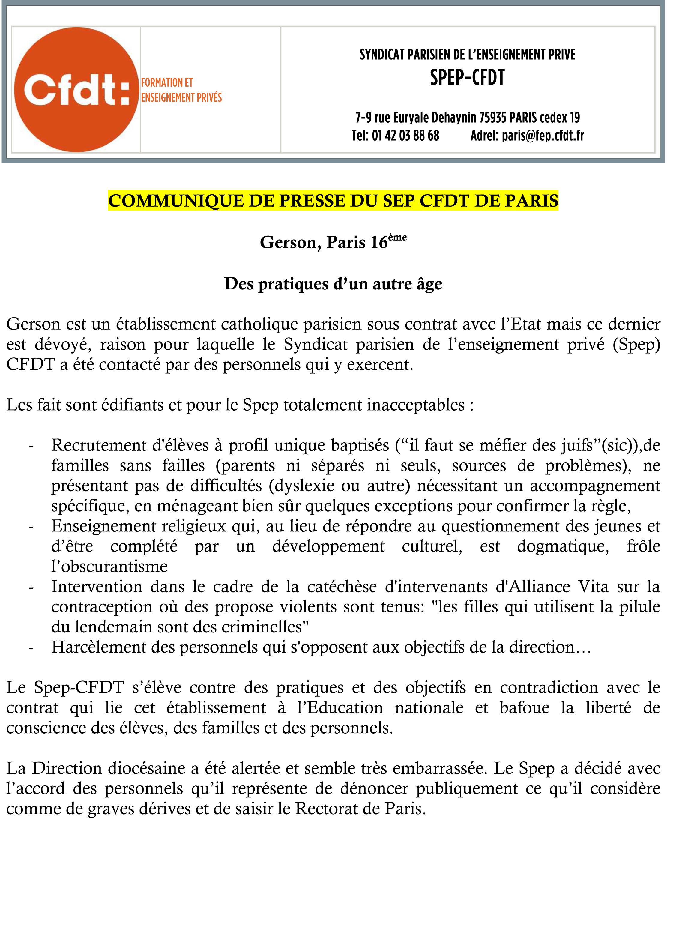 Gerson Paris  16ème - Communiqué de presse du Spep CFDT
